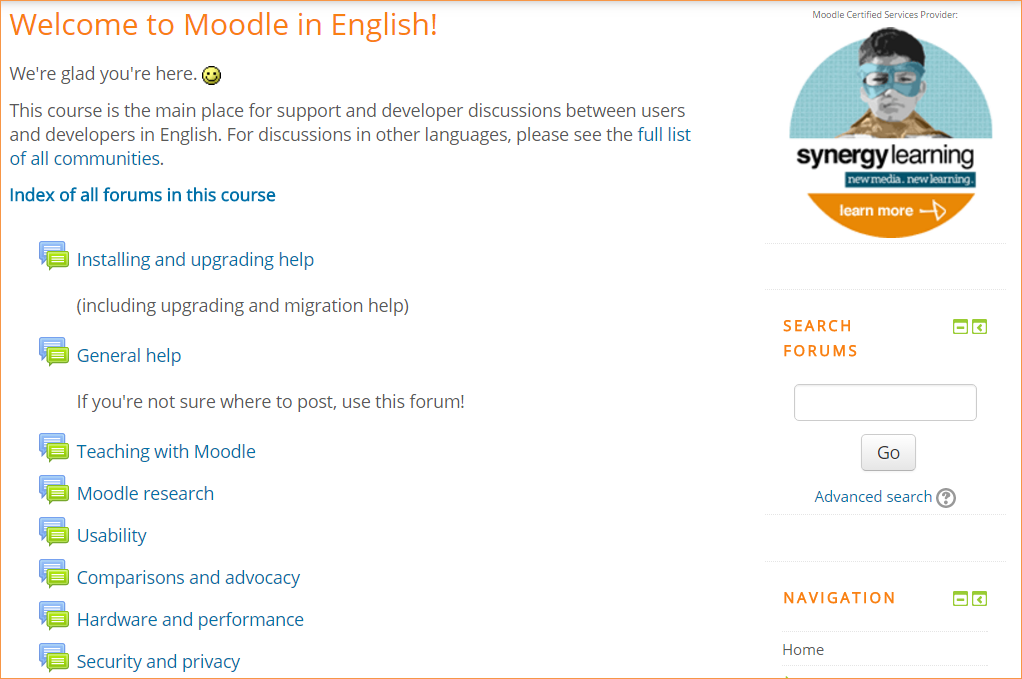 Moodle in English forums
