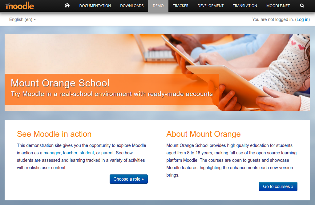 School demo site front page