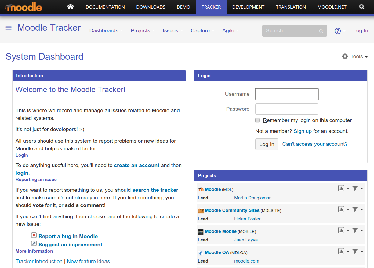 Moodle tracker front page